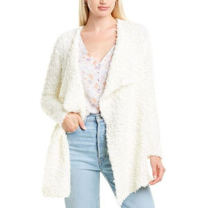 1.STATE Women's Drape Front Poodle Cardigan White